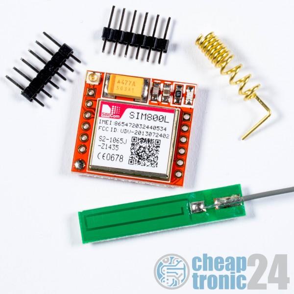 mini SIM800L GSM GPRS Modul incl. Antenne Quad Band