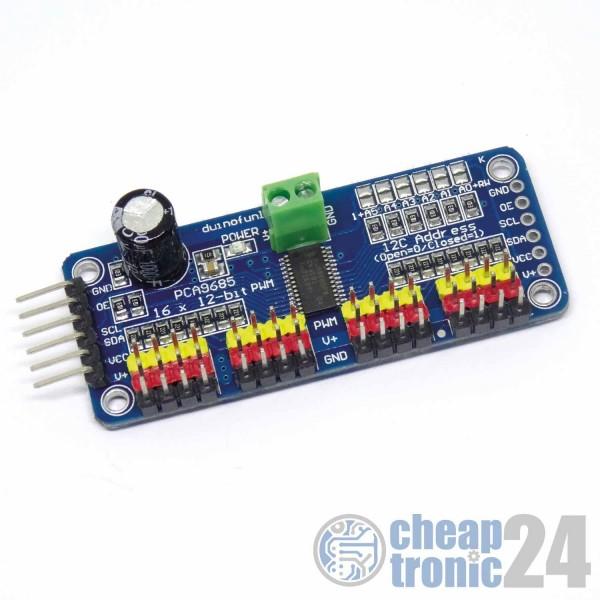 PCA9685 Servomotor Driver 16 Kanal Treiber Modul PWM I2C Arduino Raspberry