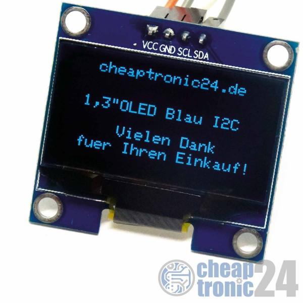 """1,3"""" OLED Display Blau 128x64 I2C Modul Arduino Raspberry Pi"""