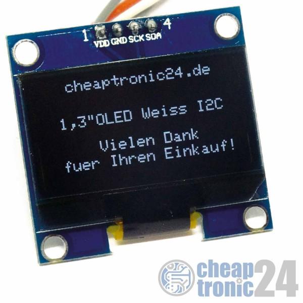 "1,3"" OLED Display Weiß 128x64 I2C Modul Arduino Raspberry Pi"