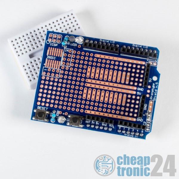 Arduino UNO Prototype Shield + mini Breadoard