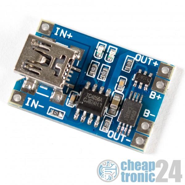 TP4056 1A Lipo Batterie Akku Lademodul Ladegerät mini USB B